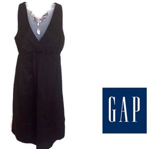 Black Dress GAP V Neck Lined Cotton Sleeveless